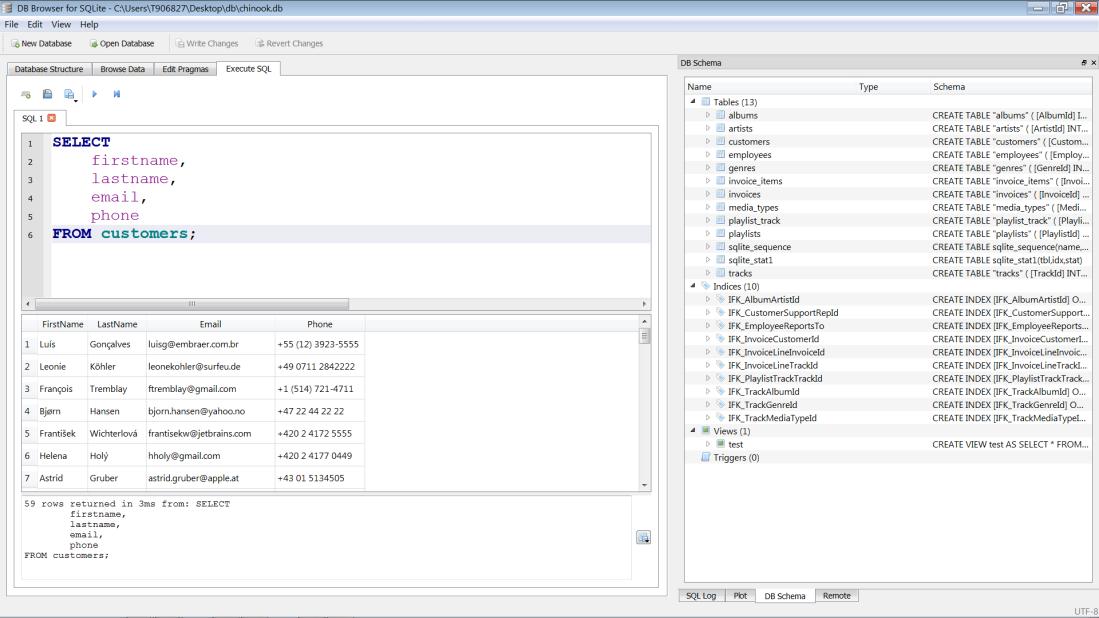 SQL db browser